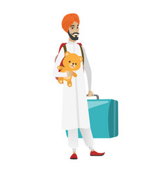 man traveling with old suitcase and teddy bear vector image