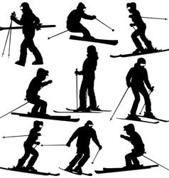 Mountain skier woman speeding down slope sport vector