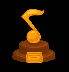 Music award prize golden musical note flat vector