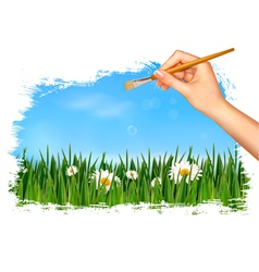 Nature background with hand holding a brush vector image