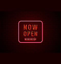 now open sign neon and bulb on brick wall vector image