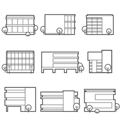 office building icons vector image vector image
