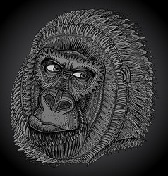 Patterned head of the gorilla in graphic style vector image vector image