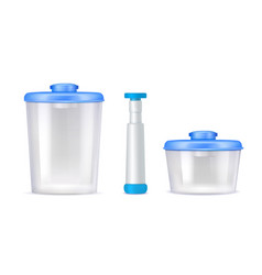 Plastic vacuum food containers realistic icons vector