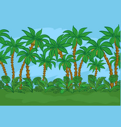 seamless palms and sky vector image vector image