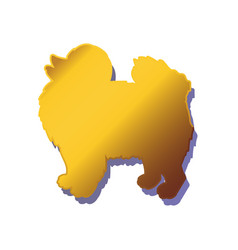 silhouette of gold dog isolated on white vector image vector image