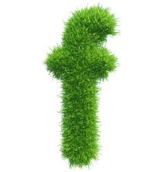 small grass letter f on white background vector image vector image