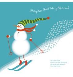 snowman go alpine skis vector image vector image