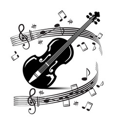 Staff and notes with violin music black objects vector