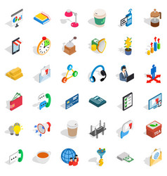 start up icons set isometric style vector image vector image