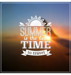 Summer time typography design on blurred sky vector image vector image