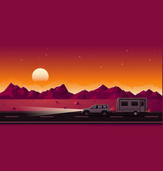 Suv and trailer vector