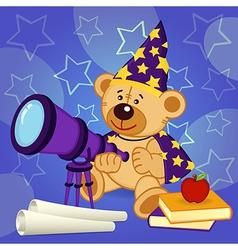 Teddy bear astronomer vector
