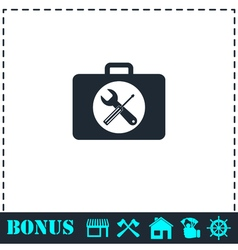 Toolbox icon flat vector