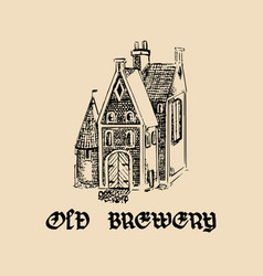 Vintage old brewery logotypehand drawn vector