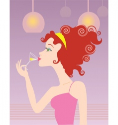 woman and glass vector image vector image
