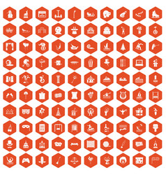 100 amusement icons hexagon orange vector