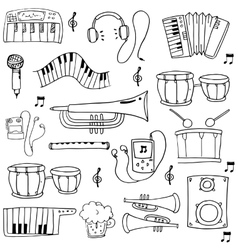 Hand draw object music set doodles vector