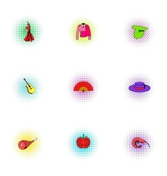 Holiday in spain icons set pop-art style vector
