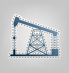 Oil drilling rig sign  blue icon with vector