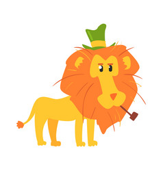 Cute cartoon lion ih a green top hat african vector