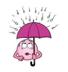 Egg cell holding umbrella against sperm cells vector image