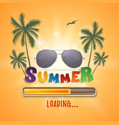 summer loading background with palms seagull and vector image