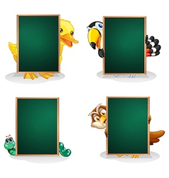 Empty green boards with animals at the back vector