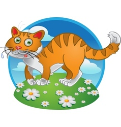 Orange fun cat on color background vector