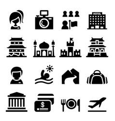 Tourism icon set vector