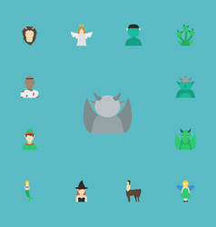 Flat icons halo dinosaur evil and other vector