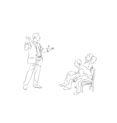 Doodle sketch two men sit on chairs vector