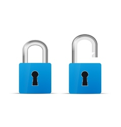 Opened and closed blue realistic lock icon vector