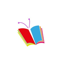 Book logo in the form of butterfly a symbol of vector