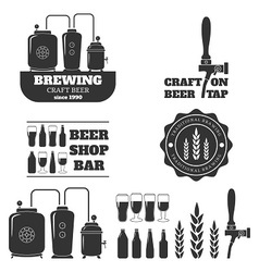 Set of the monochrome elements for beer vector