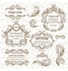 Set frame and vintage design elements vector