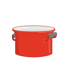 Red pot tableware for cooking food kitchenware for vector
