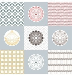 Set of round shapes and icons on backgrounds with vector