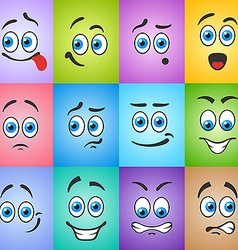 Emotions smiles on colored background vector