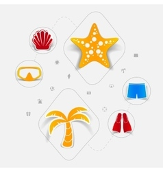 Set of summer tourism icons vector