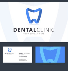 Logo and business card template for dental clinic vector