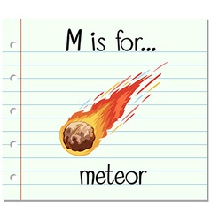 Flashcard alphabet m is for meteor vector