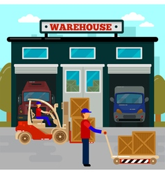Warehouse building cargo industry worker forklift vector