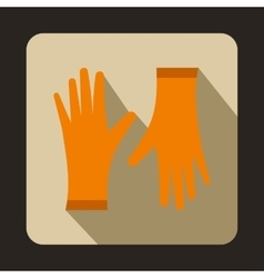 Orange protective gloves icon flat style vector