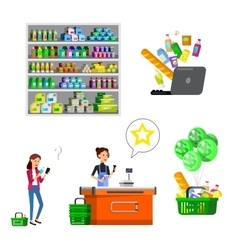Shop supermarket flat vector
