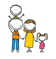 Happy family drawing isolated icon design vector