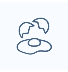 Broken egg and shells sketch icon vector