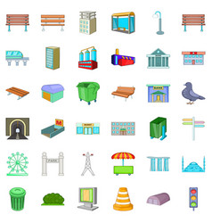 Big city icons set cartoon style vector