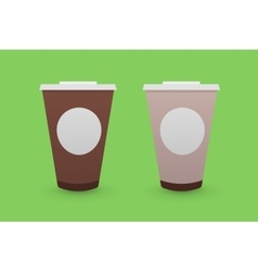 Brown Tea and Coffee Plastic Cups vector image
