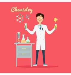 Chemistry Banner Concept Flat Style vector image vector image